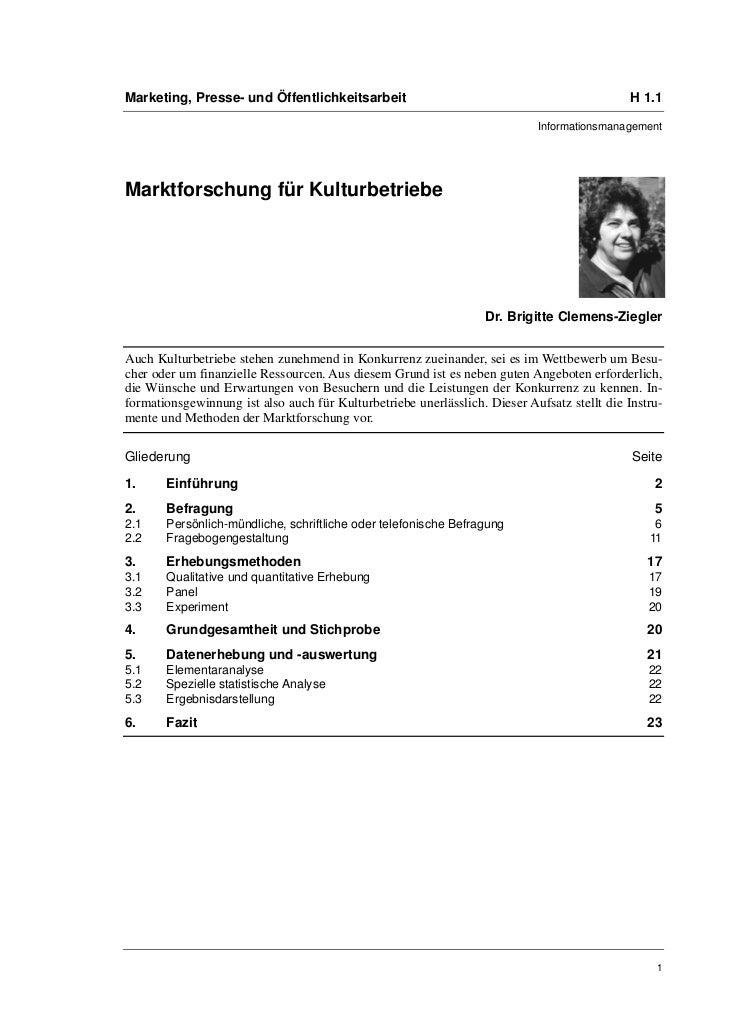 Marketing, Presse- und Öffentlichkeitsarbeit                                                  H 1.1                       ...