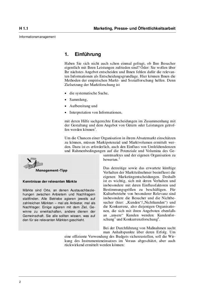 H 1.1                                            Marketing, Presse- und ÖffentlichkeitsarbeitInformationsmanagement       ...