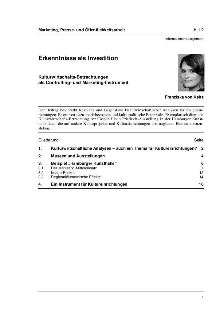Marketing, Presse- und Öffentlichkeitsarbeit                                                H 1.2                         ...