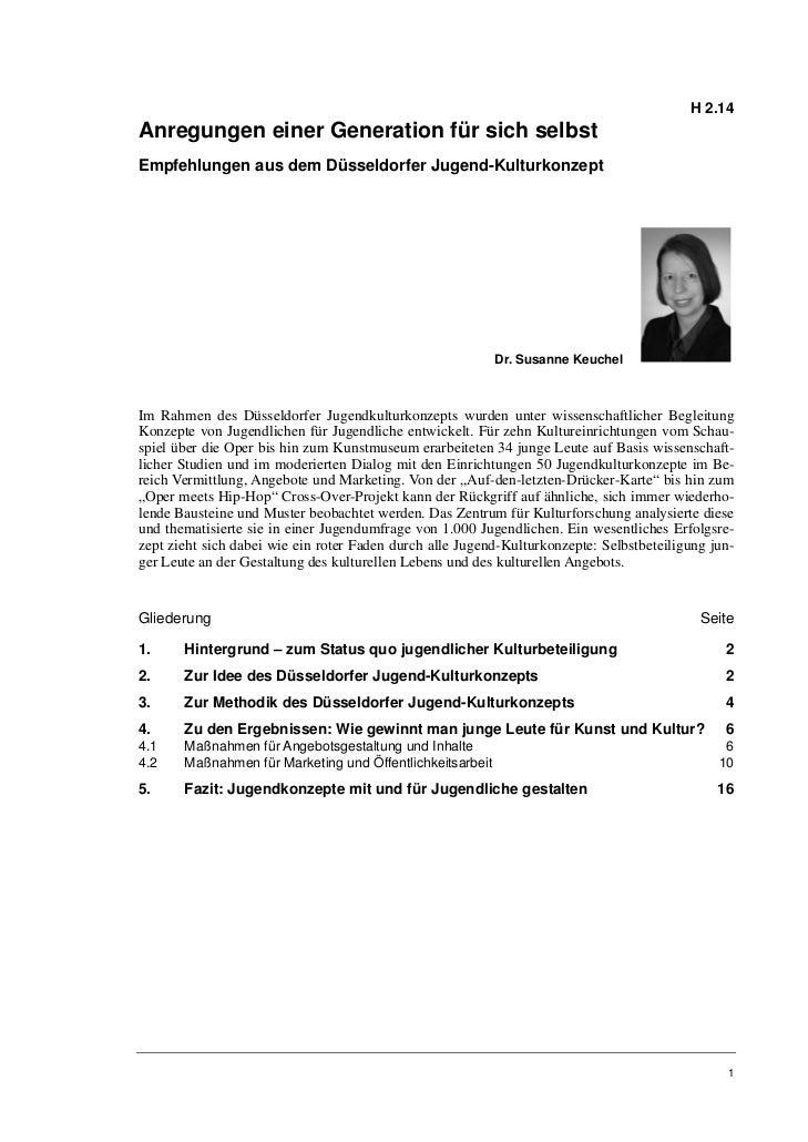 H 2.14Anregungen einer Generation für sich selbstEmpfehlungen aus dem Düsseldorfer Jugend-Kulturkonzept                   ...