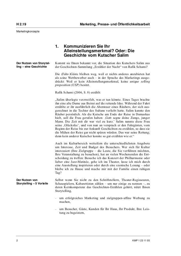 H 2.19                                         Marketing, Presse- und ÖffentlichkeitsarbeitMarketingkonzepte              ...