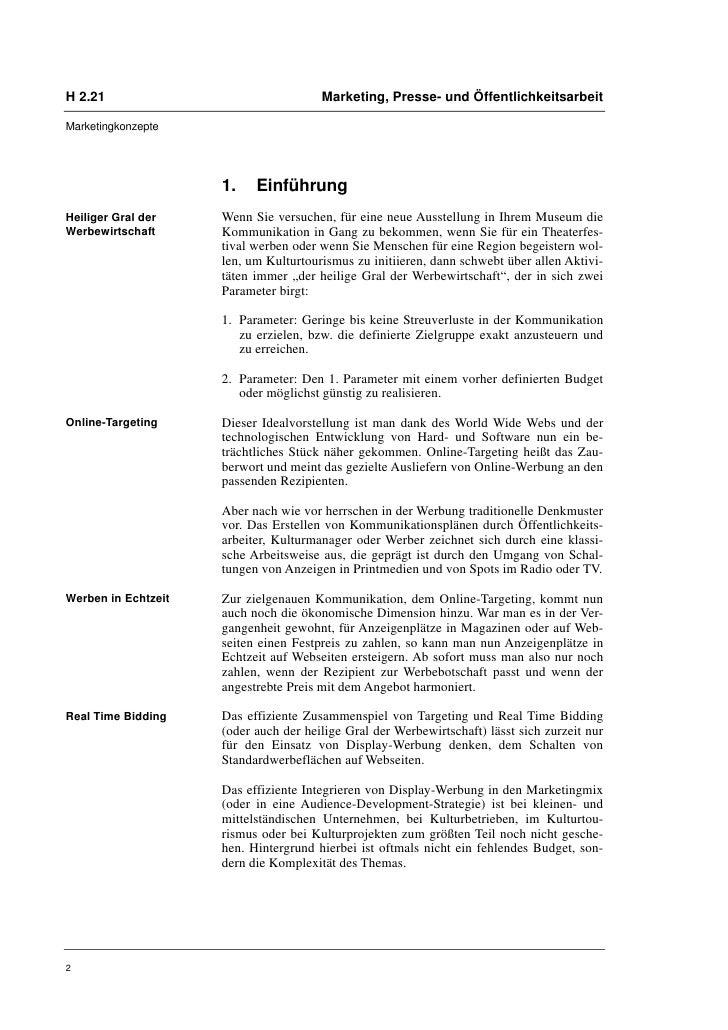 H 2.21                                 Marketing, Presse- und ÖffentlichkeitsarbeitMarketingkonzepte                     1...