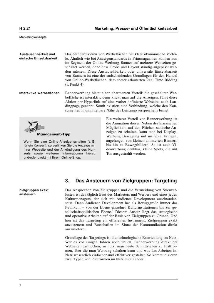 H 2.21                                               Marketing, Presse- und ÖffentlichkeitsarbeitMarketingkonzepteAustausc...