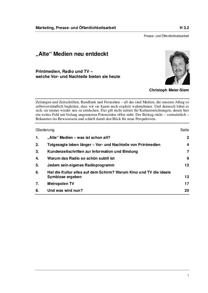 Marketing, Presse- und Öffentlichkeitsarbeit                                                   H 3.2                      ...