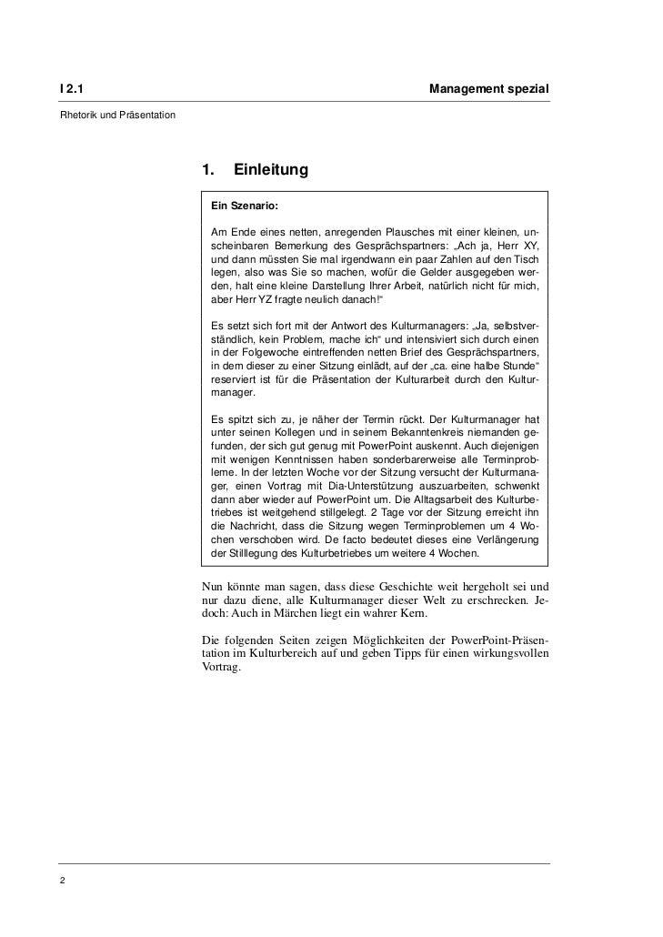 I 2.1                                                                        Management spezialRhetorik und Präsentation  ...