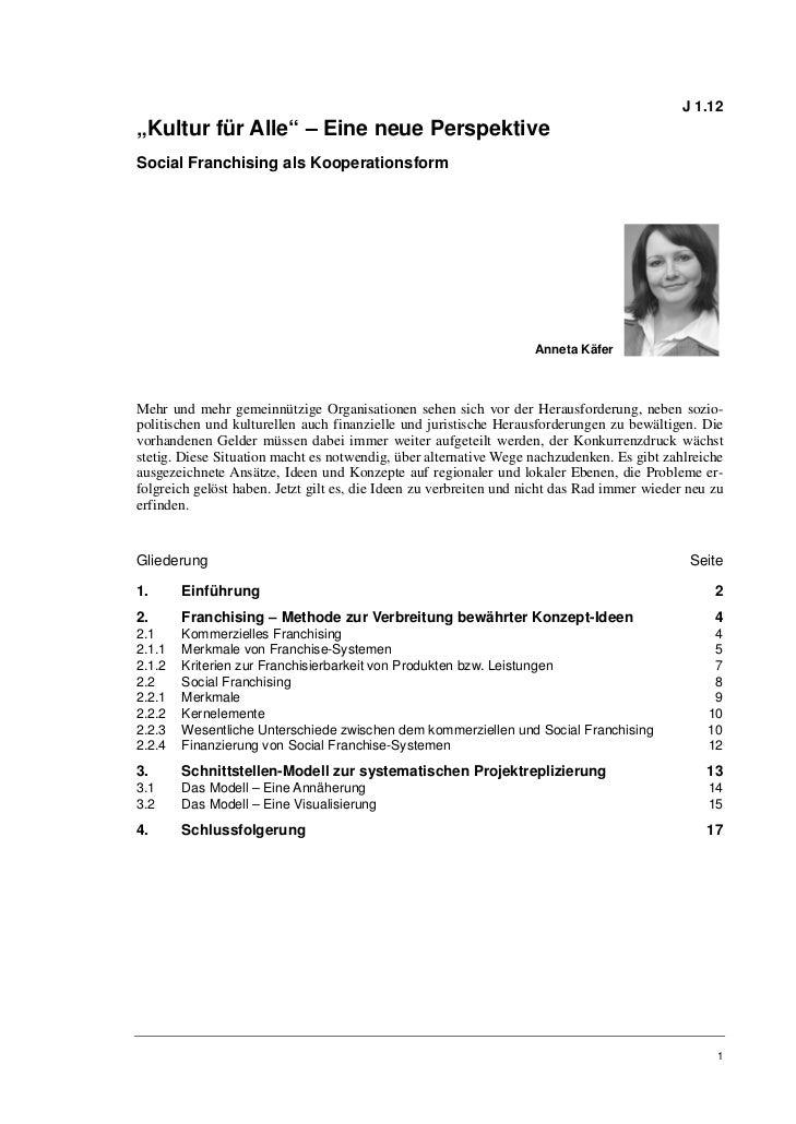 """J 1.12""""Kultur für Alle"""" – Eine neue PerspektiveSocial Franchising als Kooperationsform                                    ..."""