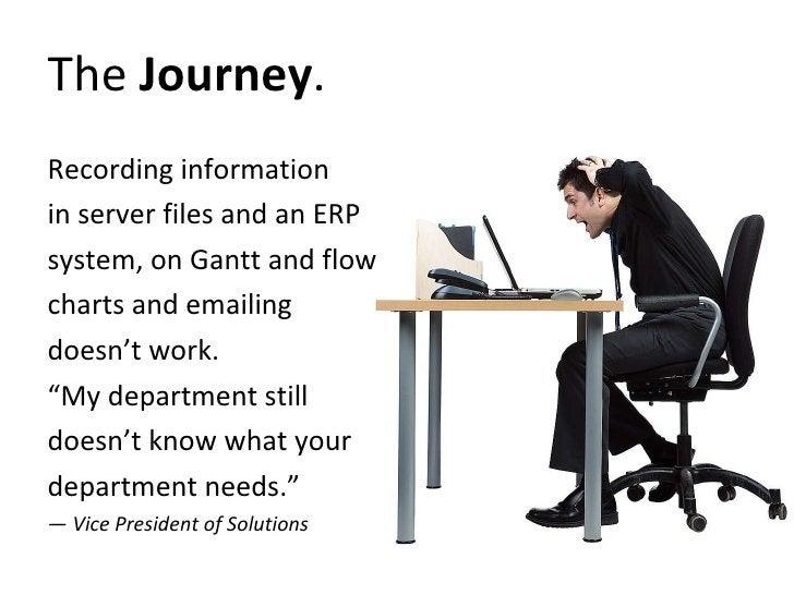 The  Journey . <ul><li>Recording information  </li></ul><ul><li>in server files and an ERP  </li></ul><ul><li>system, on G...