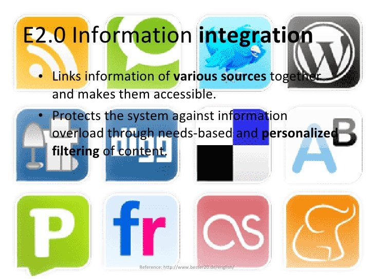 E2.0 Information  integration <ul><li>Links information of  various sources  together and makes them accessible. </li></ul...