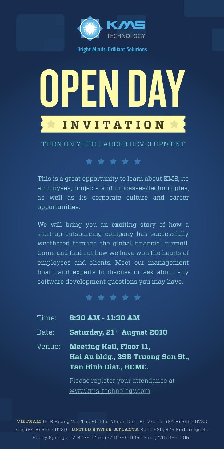 OPEN DAY INVITATION            TURN ON YOUR CAREER DEVELOPMENT             We bring to you an exciting story of how a star...