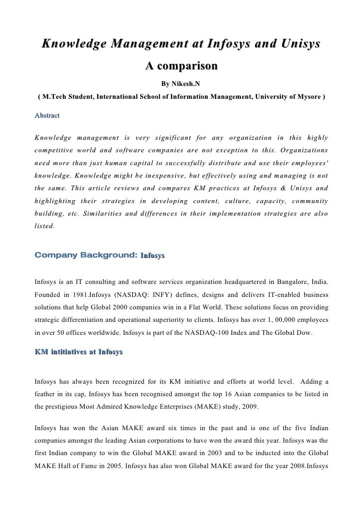 Knowledge Management at Infosys and Unisys                                       A comparison                             ...