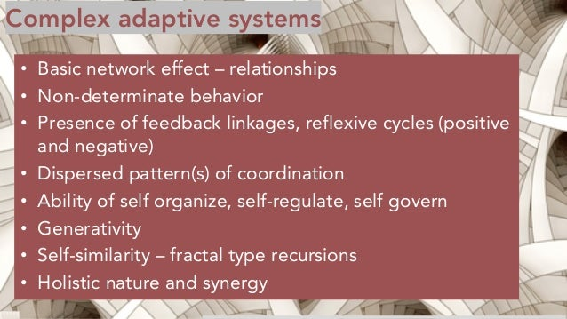 Complex adaptive systems • Basic network effect – relationships • Non-determinate behavior • Presence of feedback linkages...