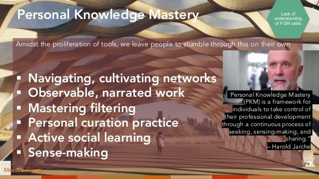 Personal Knowledge Mastery § Navigating, cultivating networks § Observable, narrated work § Mastering filtering § Personal...