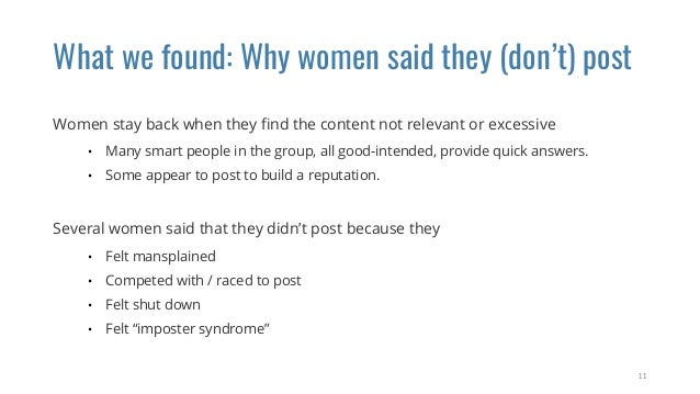 What we found: Why women said they (don't) post Women stay back when they find the content not relevant or excessive • Many...
