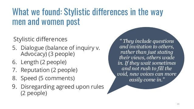 What we found: Stylistic differences in the way men and women post Stylistic differences 5. Dialogue (balance of inquiry v....