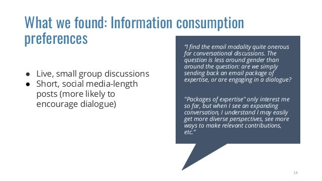 What we found: Information consumption preferences ● Live, small group discussions ● Short, social media-length posts (mor...