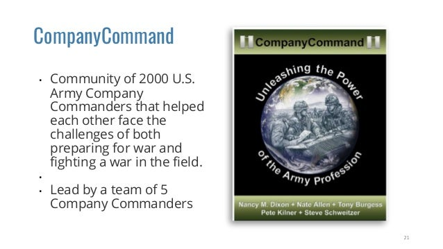 CompanyCommand • Community of 2000 U.S. Army Company Commanders that helped each other face the challenges of both prepari...
