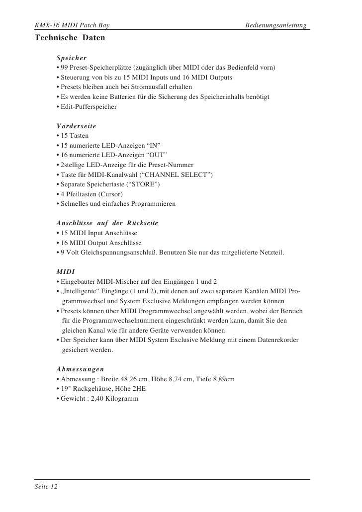 KMX-16 MIDI Patch Bay                                                  Bedienungsanleitung Technische Daten         Speich...