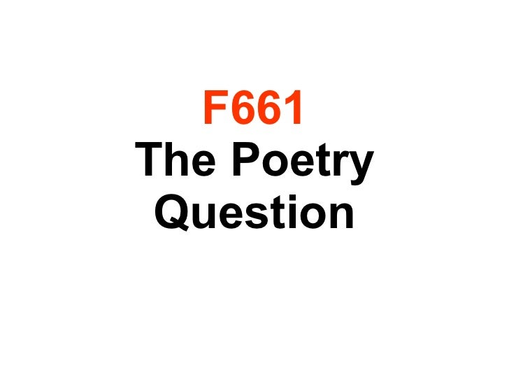 F661 The Poetry Question
