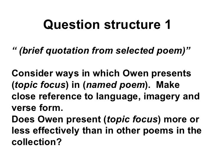 Wilfred Owen AS OCR Exam Revision Strategies