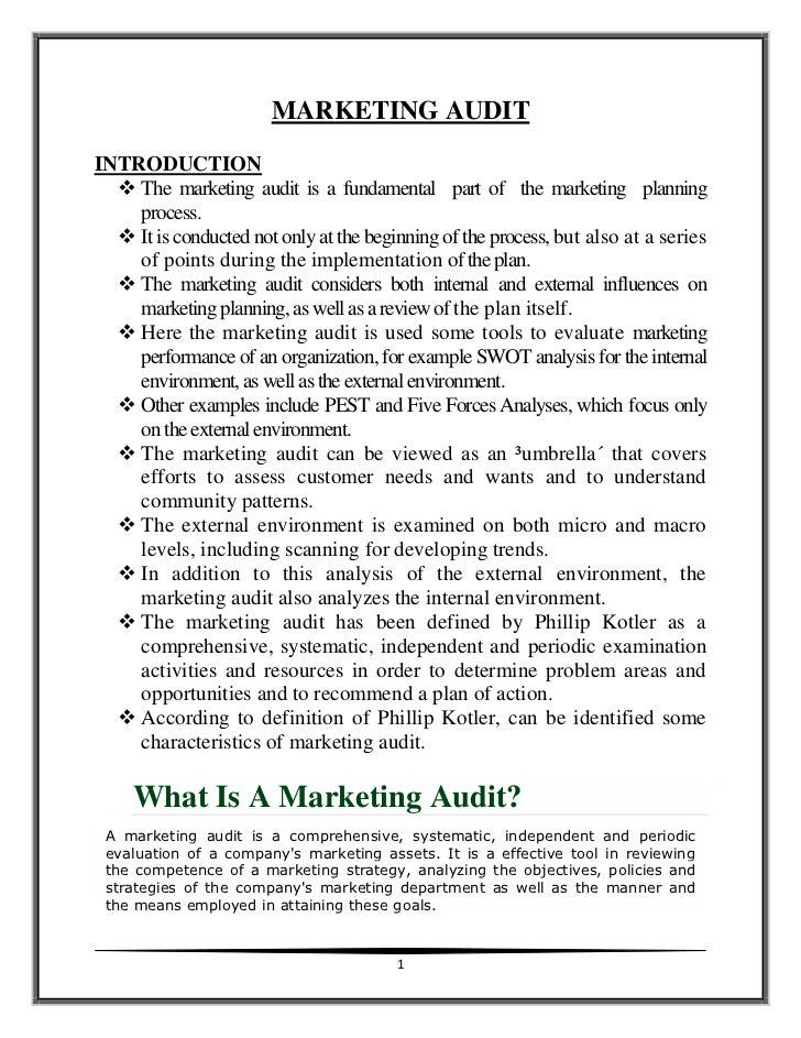 MARKETING AUDITINTRODUCTION   The marketing audit is a fundamental part of the marketing planning    process.   It is co...