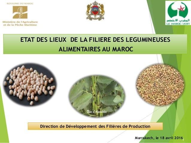 1 Marrakech, le 18 avril 2016 Direction de Développement des Filières de Production ETAT DES LIEUX DE LA FILIERE DES LEGUM...