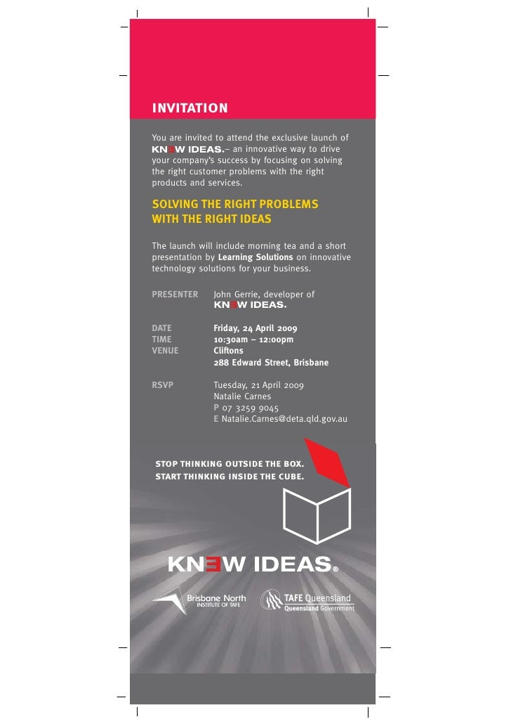 invitation You are invited to attend the exclusive launch of                   – an innovative way to drive your company's...