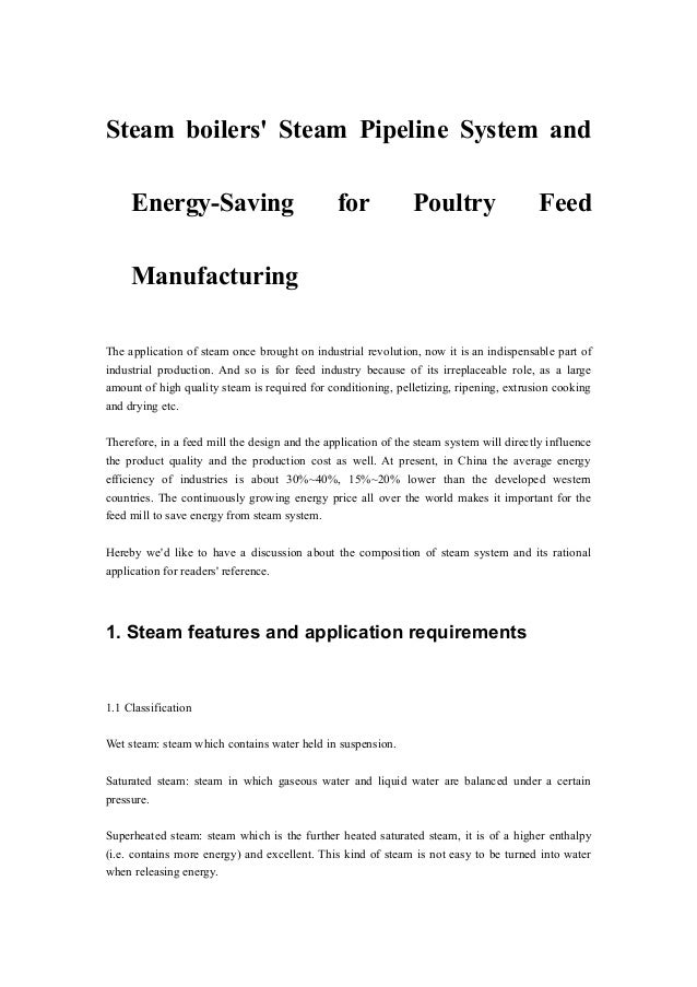 Steam boilers\' Steam Pipeline System and Energy-Saving for Poultry Fe…