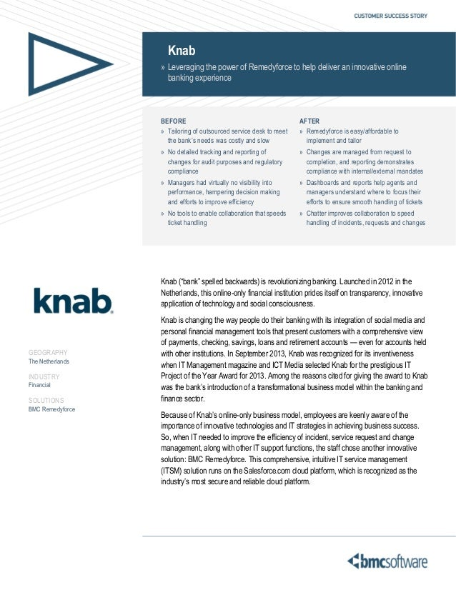 Knab » Leveraging the power of Remedyforce to help deliver an innovative online banking experience  BEFORE » Tailoring of ...