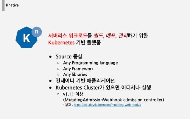 Knative 서버리스 워크로드를 빌드, 배포, 관리하기 위한 Kubernetes 기반 플랫폼 ● Source 중심 ○ Any Programming language ○ Any Framework ○ Any librarie...