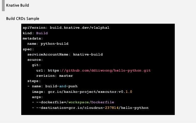 Knative Build apiVersion: build.knative.dev/v1alpha1 kind: Build metadata: name: python-build spec: serviceAccountName: kn...
