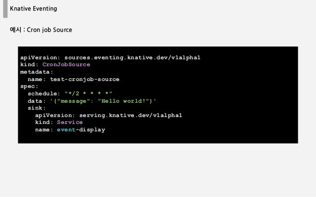 Knative Eventing apiVersion: sources.eventing.knative.dev/v1alpha1 kind: CronJobSource metadata: name: test-cronjob-source...