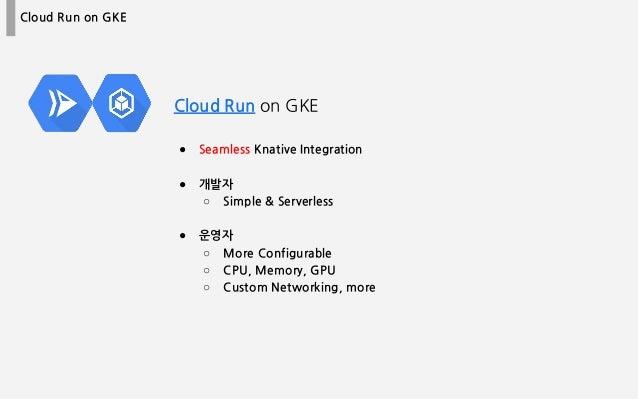 Cloud Run on GKE Cloud Run on GKE ● Seamless Knative Integration ● 개발자 ○ Simple & Serverless ● 운영자 ○ More Configurable ○ C...