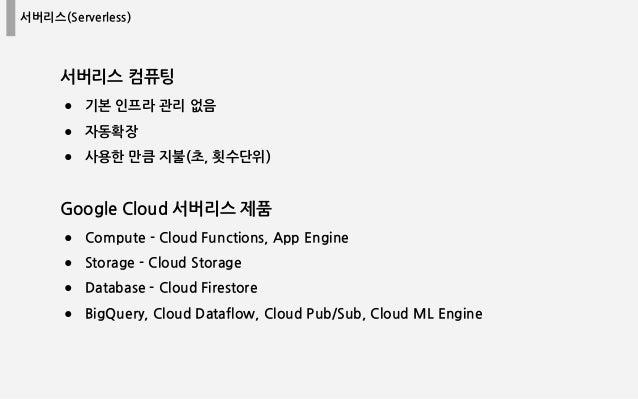 서버리스(Serverless) 서버리스 컴퓨팅 ● 기본 인프라 관리 없음 ● 자동확장 ● 사용한 만큼 지불(초, 횟수단위) Google Cloud 서버리스 제품 ● Compute - Cloud Functions, App...