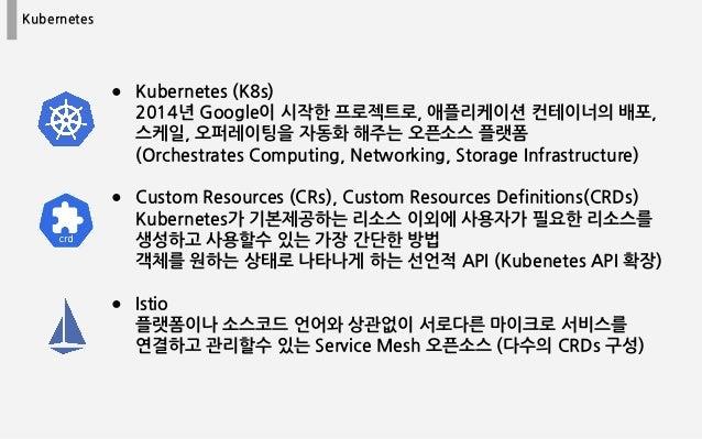 Kubernetes ● Kubernetes (K8s) 2014년 Google이 시작한 프로젝트로, 애플리케이션 컨테이너의 배포, 스케일, 오퍼레이팅을 자동화 해주는 오픈소스 플랫폼 (Orchestrates Computi...