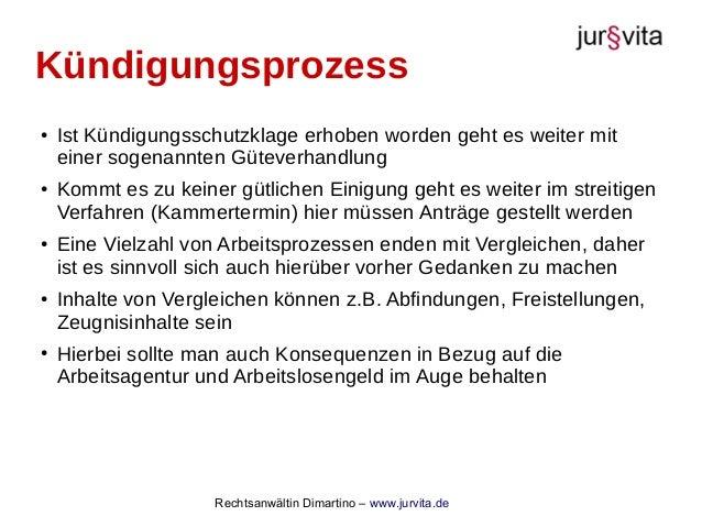 Rechtsanwältin Dimartino – www.jurvita.de Kündigungsprozess ● Ist Kündigungsschutzklage erhoben worden geht es weiter mit ...