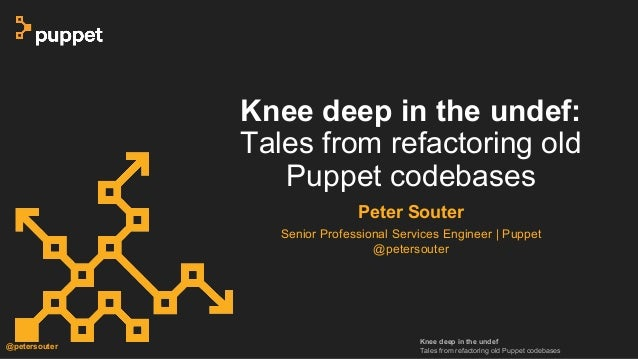 Knee deep in the undef Tales from refactoring old Puppet codebases @petersouter Knee deep in the undef: Tales from refacto...