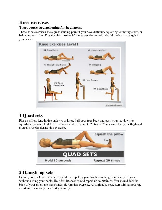 Knee exercises Therapeutic strengthening for beginners. These knee exercises are a great starting point if you have diffic...