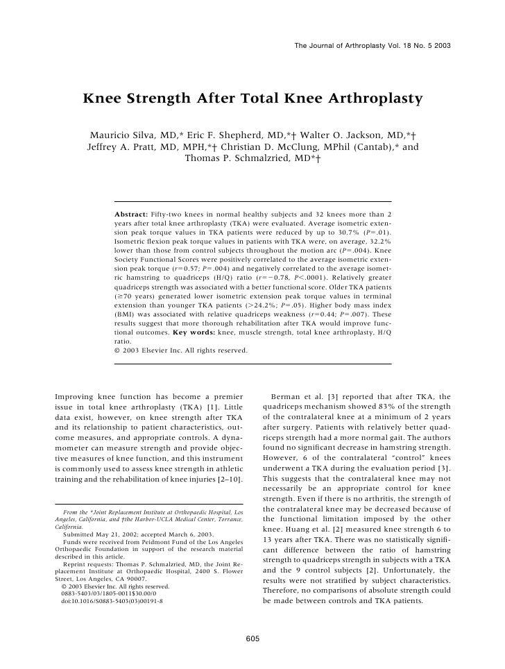 The Journal of Arthroplasty Vol. 18 No. 5 2003          Knee Strength After Total Knee Arthroplasty            Mauricio Si...