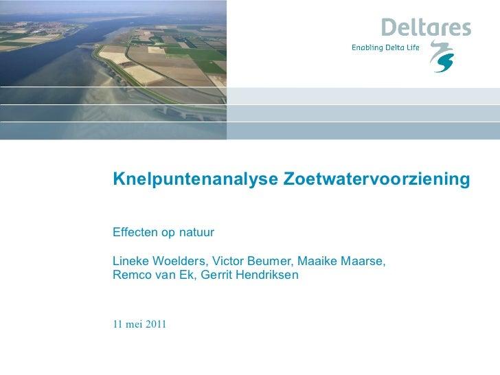 Knelpuntenanalyse Zoetwatervoorziening Effecten op natuur Lineke Woelders, Victor Beumer, Maaike Maarse,  Remco van Ek, Ge...