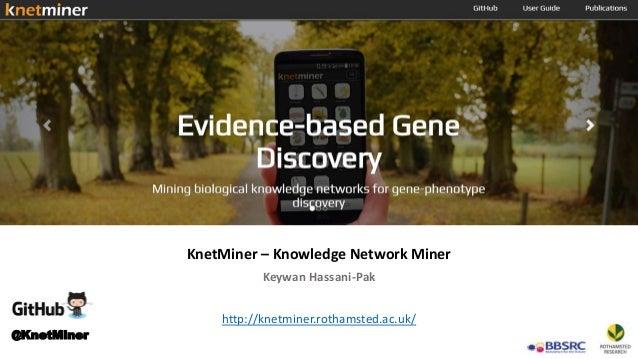 KnetMiner – Knowledge Network Miner Keywan Hassani-Pak http://knetminer.rothamsted.ac.uk/ @KnetMiner