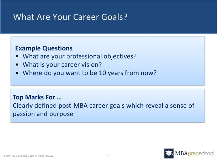 Long term goals mba