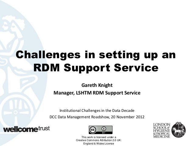 Challenges in setting up an  RDM Support Service                  Gareth Knight       Manager, LSHTM RDM Support Service  ...