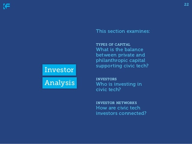 22  This section examines: types of capital  Investor Analysis  What is the balance between private and philanthropic capi...