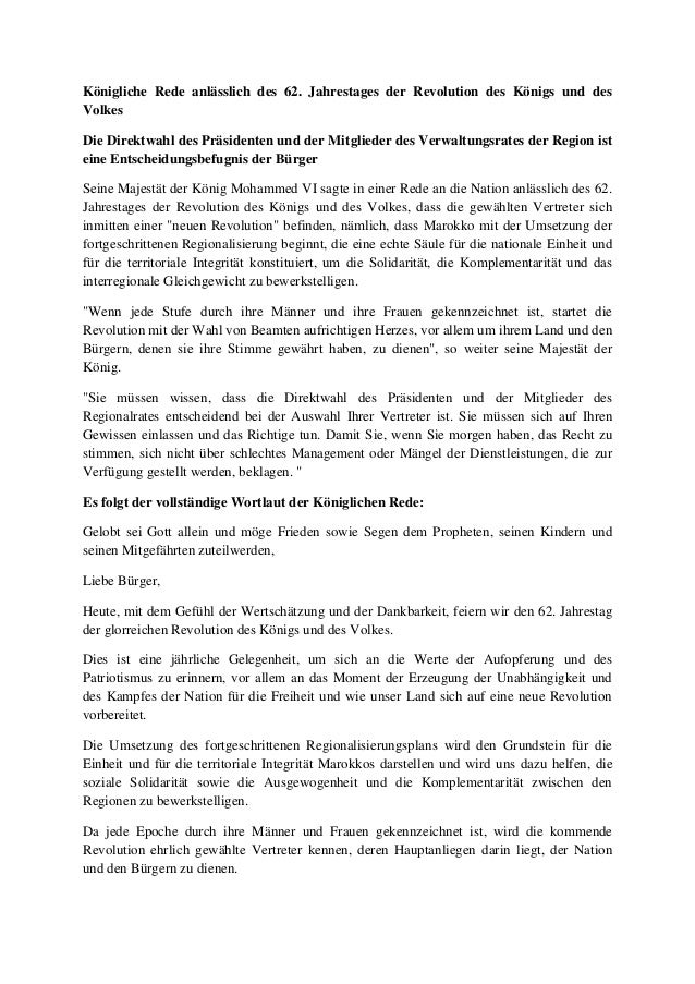 Königliche Rede anlässlich des 62. Jahrestages der Revolution des Königs und des Volkes Die Direktwahl des Präsidenten und...