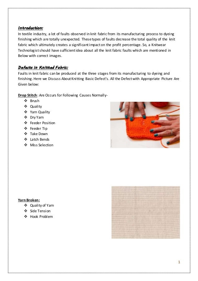 Knitting Fabric Manufacturing Process : Knit and sewing defects
