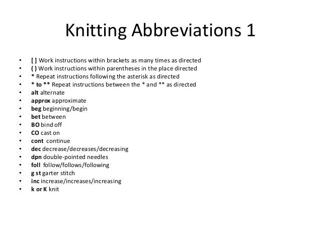 Knitting Abbreviations M : Knitting basics