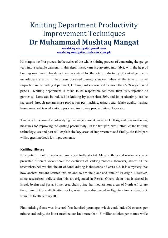 Knitting  Department  Productivity   Improvement  Techniques   Dr  Muhammad  Mushtaq  Mangat   mushtaq.m...