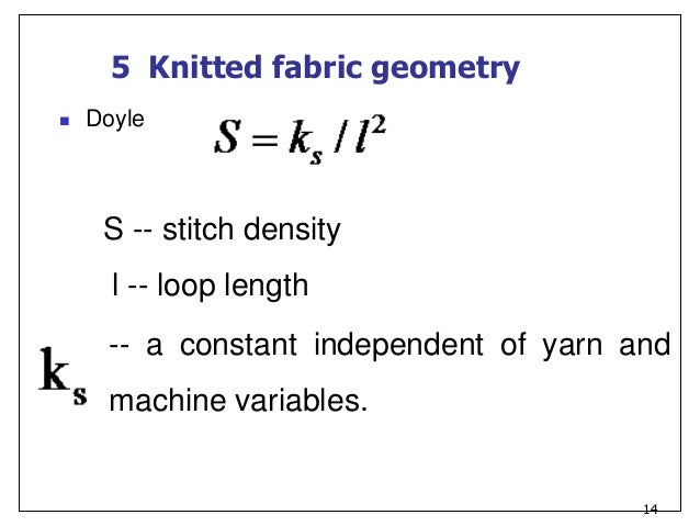 Knitting Loop Length Calculation : Knitting science