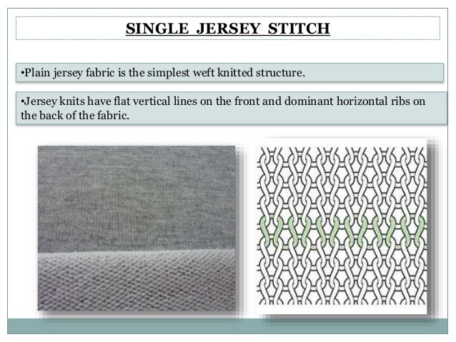 4384efd5cb1 SINGLE JERSEY STITCH •Jersey knits have flat vertical lines on the ...