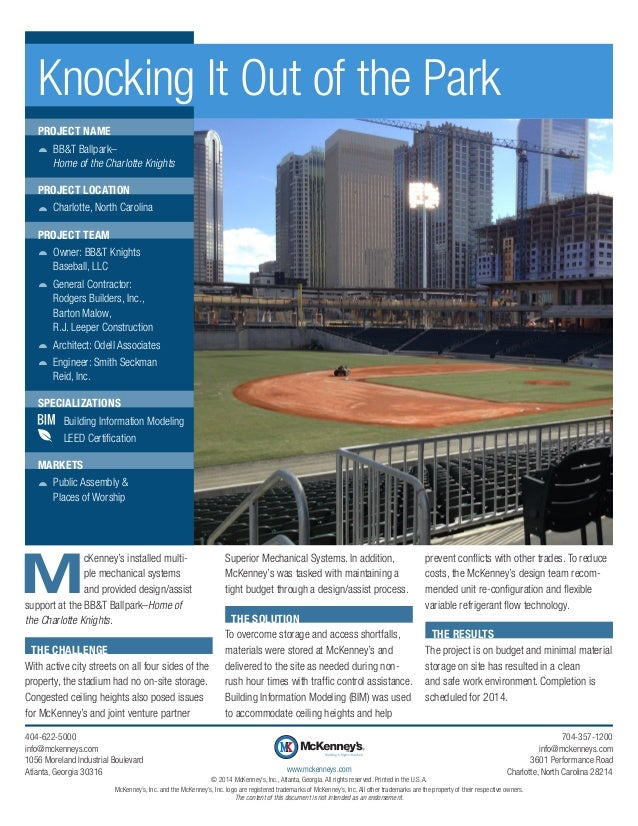 Knocking It Out of the Park PROJECT NAME žž BB&T Ballpark– Home of the Charlotte Knights PROJECT LOCATION žž Charlotte, No...